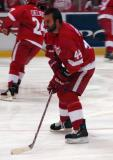 Todd Bertuzzi skates in on the net during pregame warmups.