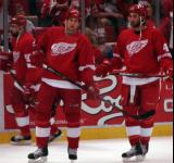 Matt Ellis and Kyle Quincey watch their teammates as Tomas Holmstrom skates behind them during pregame warmups.