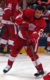 Pavel Datsyuk wrists a shot on net during pregame warmups.