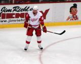 Tomas Kopecky stands at the top of the left faceoff circle during pre-game warmups.
