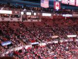 A view of a section of empty seats halfway through the first period of a game against the Chicago Blackhawks.