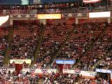 A view of sections of empty seats halfway through the first period of a game against the Chicago Blackhawks.