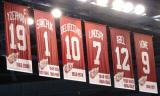 A look up at the banners for Detroit's retired numbers.