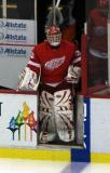 Dominik Hasek leads the Red Wings onto the ice for the start of the game.