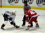Henrik Zetterberg steps up to take a faceoff against Nashville's Vernon Fiddler.