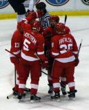 Pavel Datsyuk, Johan Franzen, Nicklas Lidstrom, Henrik Zetterberg and Brian Rafalski celebrate a power play goal.