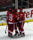 Valtteri Filppula, Niklas Kronwall, Jiri Hudler and Tomas Kopecky celebrate a power play goal by Hudler.