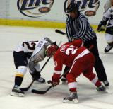 Kris Draper takes a faceoff against Nashville's Scott Nichol.