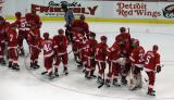 The Red Wings come onto the ice to celebrate their 4-3 win over the Nashville Predators.
