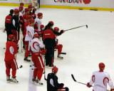 Red Wings' head coach Mike Babcock directs the team on the next drill to execute during practice.