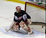 Dominik Hasek allows a goal during practice.