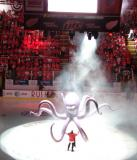 Al the Octopus descends from the Joe Louis Arena scoreboard in a pre-game show.