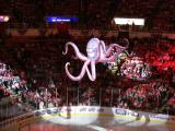 Al the Octopus is raised to the Joe Louis Arena rafters in a pre-game show.