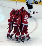 Mikael Samuelsson, Dan Cleary, Niklas Kronwall, Johan Franzen and Jiri Hudler celebrate a power play goal.