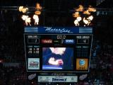 The Joe Louis Arena scoreboard shoots flames following a win over the Dallas Stars.