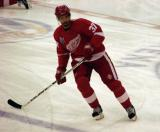Mikael Samuelsson skates to the blue line during pre-game warmups.