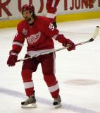 Niklas Kronwall skates across the blue line during pre-game warmups.