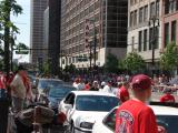 Southbound Woodward Ave. is flanked by Red Wings fans prior to the 2008 Stanley Cup parade.