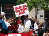 Red Wings assistant general manager Jim Nill displays a sign thanking the team's fans during the 2008 Stanley Cup parade.