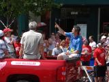 Detroit assistant coach Todd McLellan raises his index finger to fans during the 2008 Stanley Cup parade.