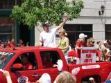 Red Wings head coach Mike Babcock waves to fans during the 2008 Stanley Cup parade.