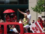 Detroit head coach Mike Babcock waves during the 2008 Stanley Cup parade.