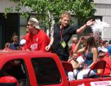 Kyle Quincey and Mattias Ritola ride together as part of the 2008 Stanley Cup parade.