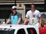 """Black Aces"" Justin Abdelkader and Jonathan Ericsson ride along in the 2008 Stanley Cup parade."
