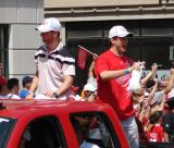 Jakub Kindl and Derek Meech ride together during the 2008 Stanley Cup parade.
