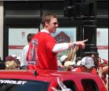 Jimmy Howard points to the fans during the 2008 Stanley Cup parade.