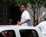 Aaron Downey rides along as part of the 2008 Stanley Cup parade.