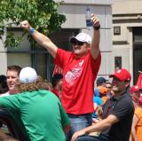Brett Lebda raises his arms in celebration during the 2008 Stanley Cup parade.