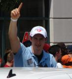 Darren Helm raises his index finger to signify the number one during the 2008 Stanley Cup parade.