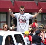 Tomas Kopecky raises his index fingers to the crowd at the 2008 Stanley Cup parade.