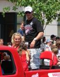 Andreas Lilja rides along during the 2008 Stanley Cup parade.