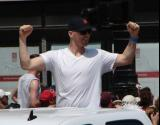 Dan Cleary raises his arms in celebration during the 2008 Stanley Cup parade.