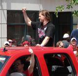 Niklas Kronwall raises a fist to the fans at the 2008 Stanley Cup parade.