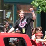 Niklas Kronwall pumps his fist at the crowd during the 2008 Stanley Cup parade.