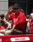 Brad Stuart waves to the crowd during the 2008 Stanley Cup parade.