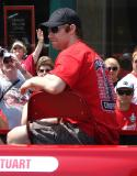 Brad Stuart rides along during the 2008 Stanley Cup parade.