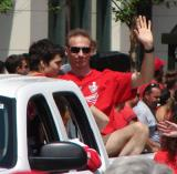 Dominik Hasek waves to the fans at the 2008 Stanley Cup parade.