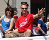 Dominik Hasek waves to fans at the 2008 Stanley Cup parade.