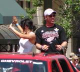 Johan Franzen rides along in the 2008 Stanley Cup parade.