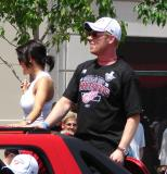 Johan Franzen looks ahead while riding in the 2008 Stanley Cup parade.