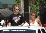 Valtteri Filppula rides in the 2008 Stanley Cup parade.