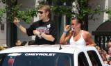 Valtteri Filppula raises his index finger to the crowd at the 2008 Stanley Cup parade.