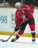 Steve Yzerman looks to make a pass while playing for Team Canada in the 1998 Olympic Winter Games.