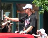 Mikael Samuelsson waves to the crowd at the 2008 Stanley Cup parade.