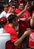 Chris Chelios raises his index finger to the crowd at the 2008 Stanley Cup parade.