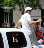 Pavel Datsyuk gives the crowd a thumbs-up while riding with the Presidents' Trophy in the 2008 Stanley Cup parade.